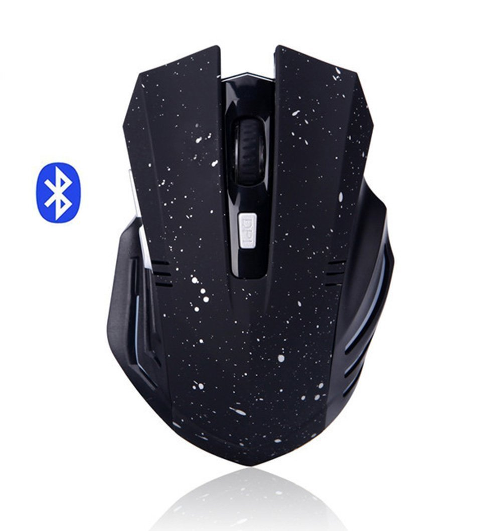 Wireless Mouse, Attoe Ergonomic Portable Bluetooth Gaming Mouse Silent Rechargeable Optic Mouse with 3 Adjustable DPI for PC Laptop Notebook Windows Android Mac OS (Black)