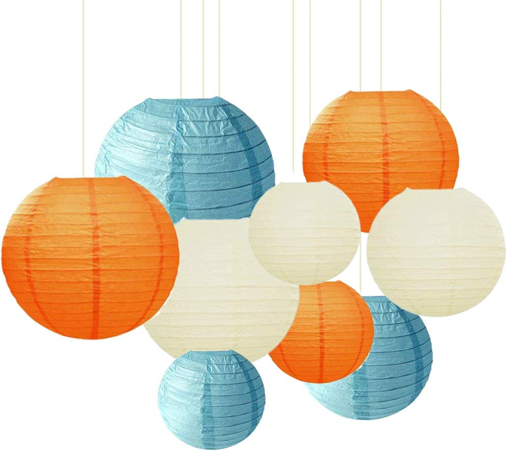 9pack,Black, Gold, White Sonnis Paper Lanterns 1210 8Round Lanterns Chinese//Japanese Paper Hanging Decorations Ball Lanterns Lamps for Birthday Wedding Baby Showers Party Decorations