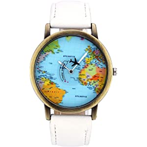 Top Plaza Rotating Airplane World Map Watch Unisex Retro Bronze Case White PU Leather Band Quartz