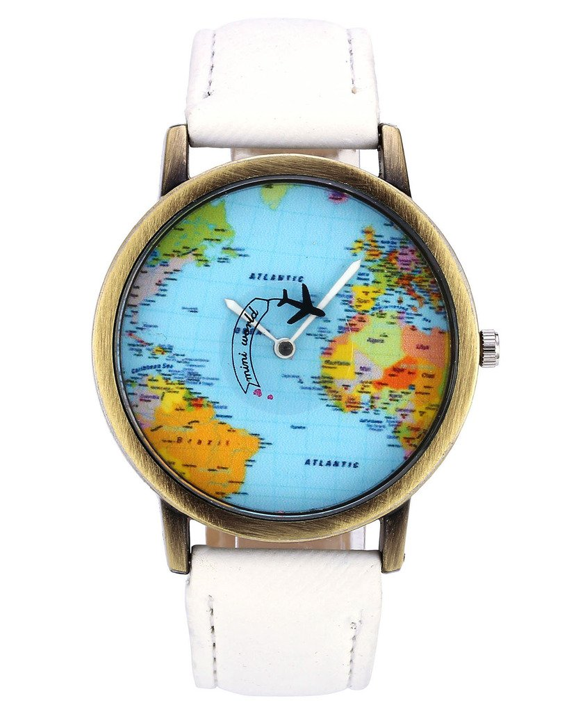 Top Plaza Womens Mens Rotating Airplane World Map Watch Unisex Retro Bronze Case White PU Leather Band Quartz Watch