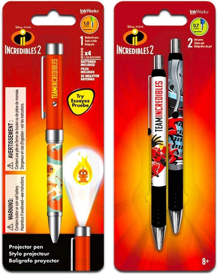 Disney Pixar Incredibles Projector Pen Set - Bundle Includes 3 Deluxe Incredibles Pens (Incredibles Office Supplies, School Supplies)