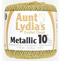 Coats Crochet Tía Lydia Crochet, algodón metálico tamaño 10, blanco/perla, Dorado, 10, 1