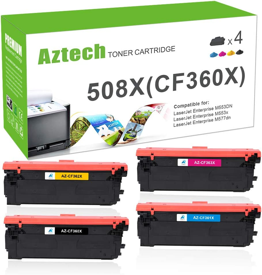 Aztech Compatible Toner Cartridge Replacement for HP 508A CF360A CF361A CF362A CF363A 508X CF360X HP Color Laserjet Enterprise M553N M553DN M553X M552DN MFP M577Z M577dn M533 M577 Printer(KCYM, 4Pack)