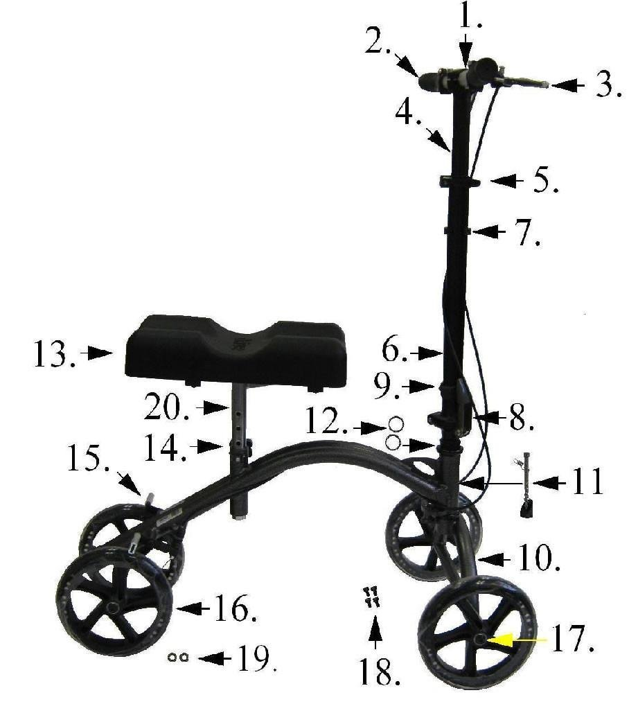 Replacement Parts for Drive 790 Knee Walkers (Wheel/Caster)