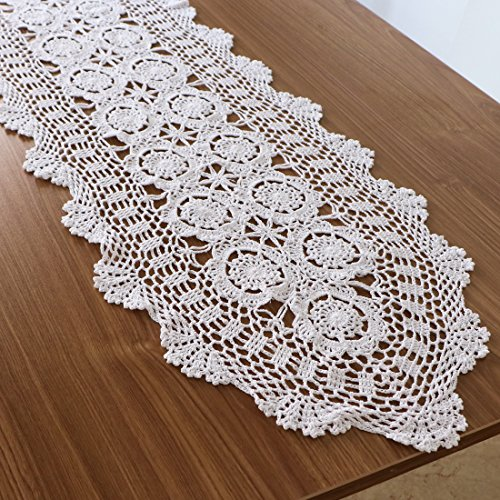kilofly Handmade Crochet Cotton Lace Table Runner Tablecloth, 15 x 79 inch