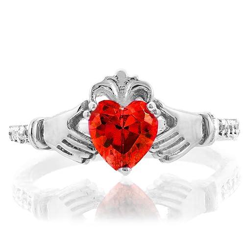 Amazon.com: Oro blanco de 10 K Garnet Corazón Cz Enero ...