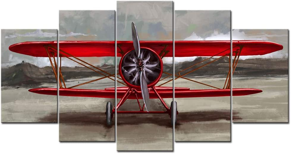 sechars Large 5 Piece Canvas Wall Art Vintage Red Airplane Painting Aviation Picture Print on Canvas Retro Aircraft Poster for Home Office Living Room Man Room Decor Stretched and Framed Ready to Hang