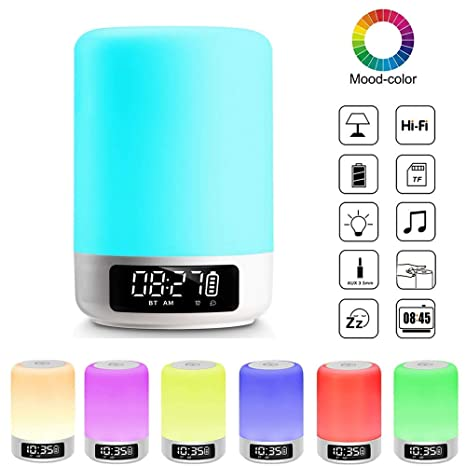 Night Light Bluetooth Speaker, Touch Sensor Bedside Table Lamp with Digital Alarm Clock, LED Color Changing Portable MP3 Player Gifts for Kids Teens ...