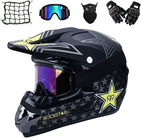 Vomi Motorrad Crosshelm Mit Brille 5 Stück Schwarz Rockstar Adult Motocross Helm Erwachsener Off Road Fullface Mtb Helm Mopedhelm Motorradhelm Für Damen Herren Sicherheit Schutz S Auto