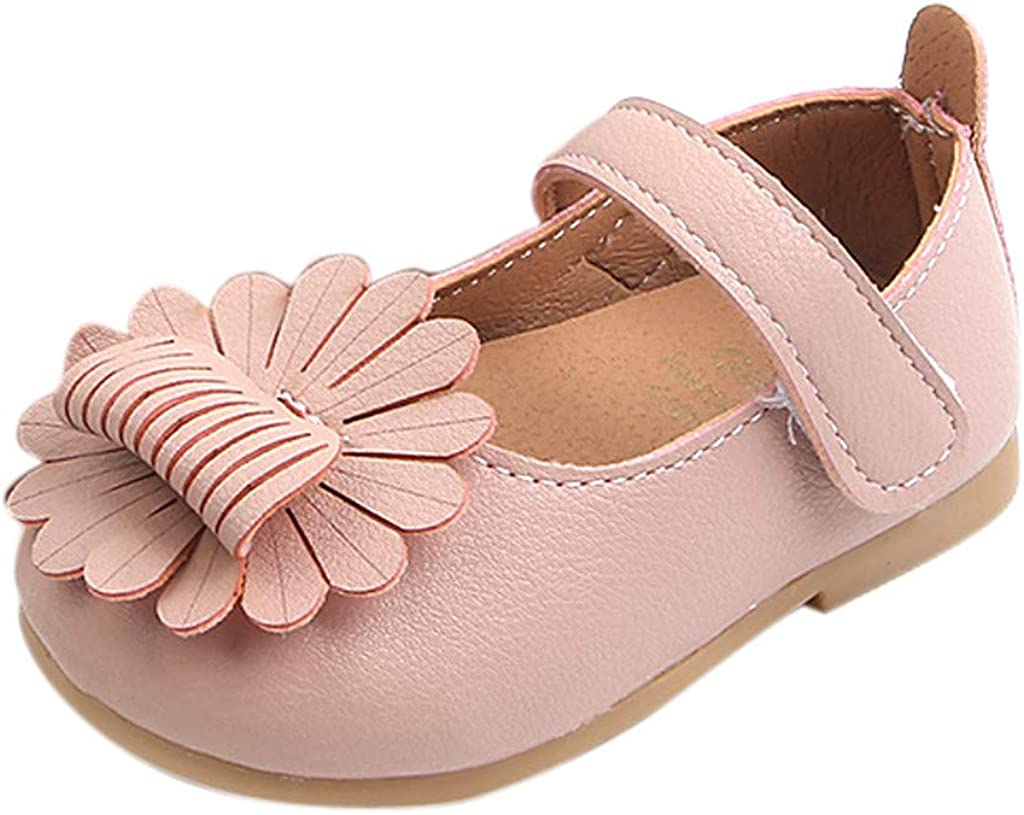 Moonker Toddler Baby Girls Soft Sole Mary Jane School Shoes Princess Light Shoes Bowknot Dance Ballet Flats