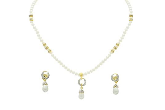 07f7af321a4 NATURAL FRESH WATER PEARLS SINGLE STING PEARLS SET FROM HYDERABAD ADPRLS234  available at Amazon for Rs