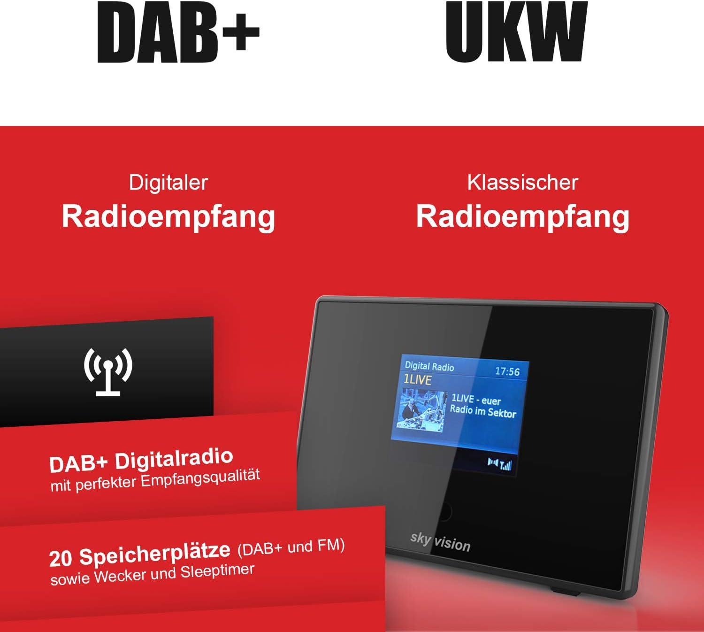 Sky Vision Dab 200 S Digital Radio Adapter Bluetooth Adapter Bluetooth Empfänger Für Stereoanlage Und Hifi Radio Receiver Ukw Dab Mit Radiowecker Und Lcd Display Schwarz Heimkino Tv Video