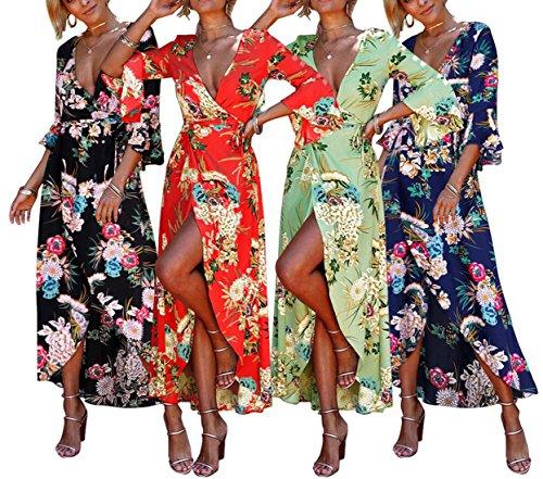 Fonc Cocktail de Soirees Maxi Femme Robe t Sexy avec Fashion Party Flare Plage Fendues Profond V Sleeve Imprime Gala Col Bleu Bandage Slim Robes pgffHRqTw