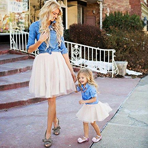 O Vestire Blu bambino collo Abito Figlia A Mini Casual Sera Partito Genitore Prom Da bianco Per E line Abiti Del Senza Minetom Madre Maniche Vestito 5jLq3R4A