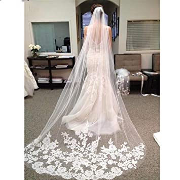 9875906395 One Layer Tulle Lace Edge Cathedral Wedding Veils 3 M Long Bridal Veil With  Comb Wedding