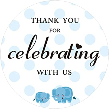 Amazon Com 80 Pack 2 Blue Elephant Thank You For Celebrating With Us Stickers Baby Shower Thank You Sticker Labels Office Products