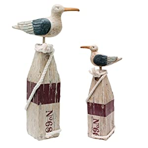 Seagull Statue Figurine Nautical Decoration Set of 2, Rustic Indoor Outdoor Nautical Beach Theme Room Decor for Living Room Bathroom Home Decor Yard and Garden Statue (2 Pack)