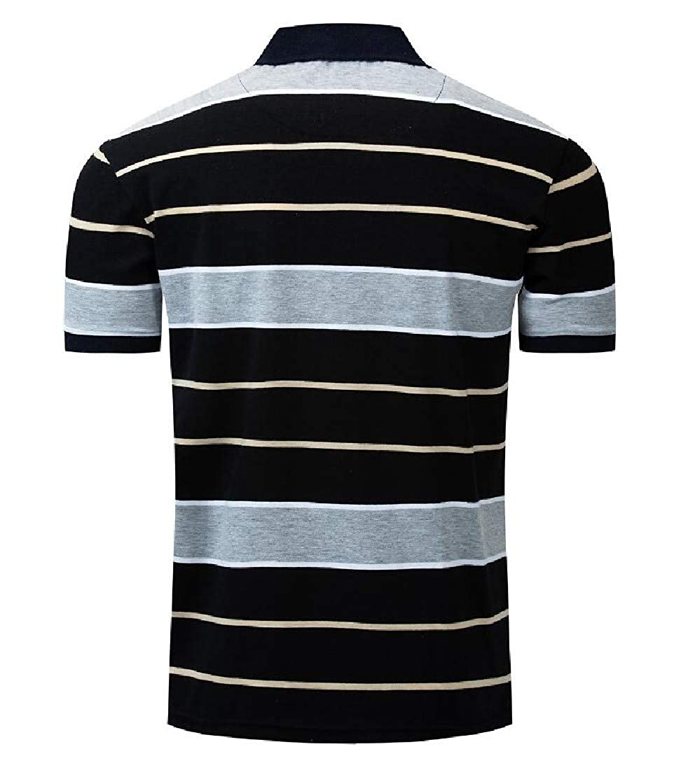Comaba Mens Fold-Collar Pinstripe Short Sleeves Polo Tee Top Shirt T-Shirt