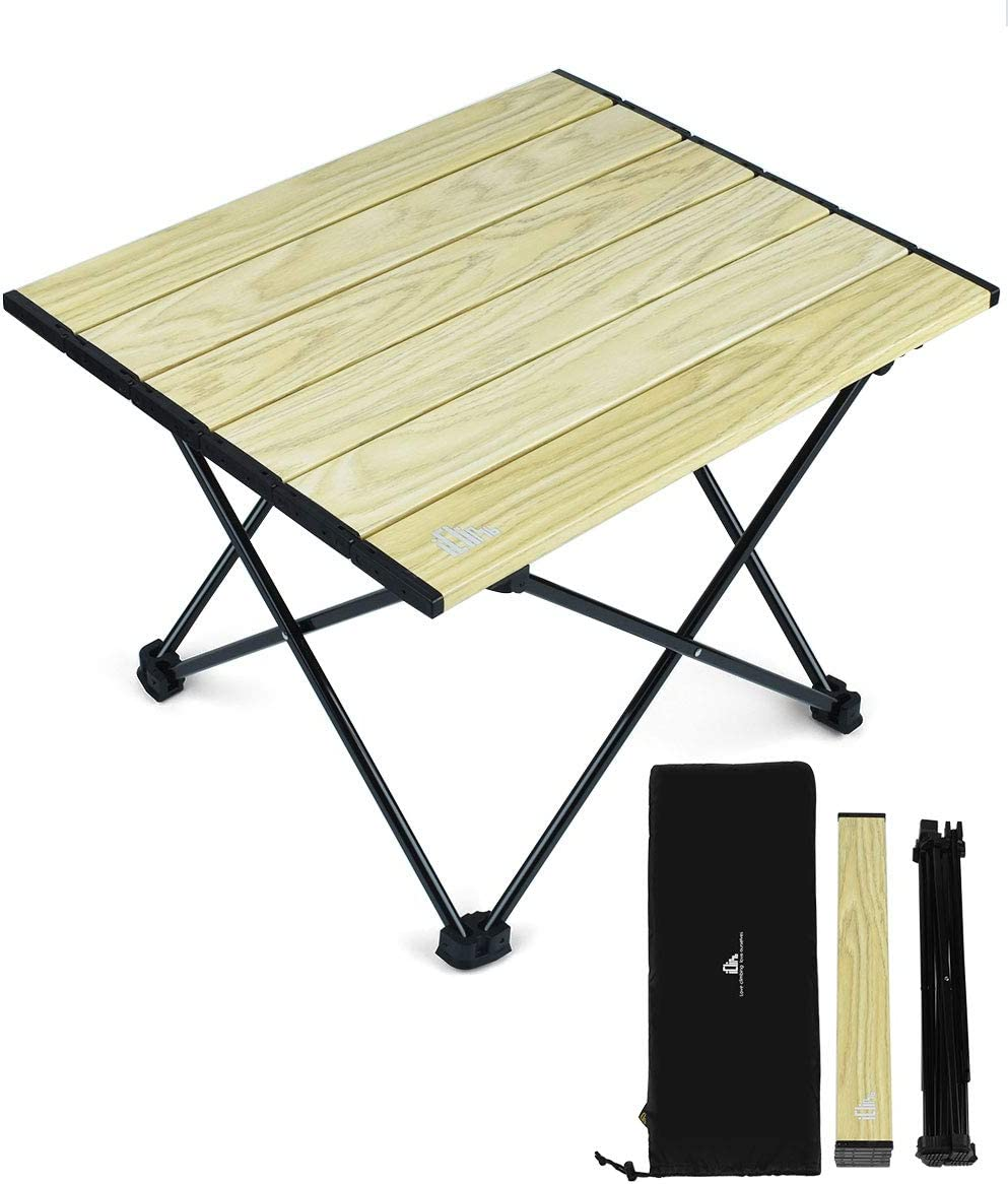 iClimb Ultralight Compact Camping Folding Table with Carry Bag, Two Size Wood Grain – L