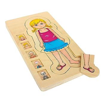 Holzpuzzle Anatomie Mädchen, 29-tlg. Puzzle, spielerisches ...
