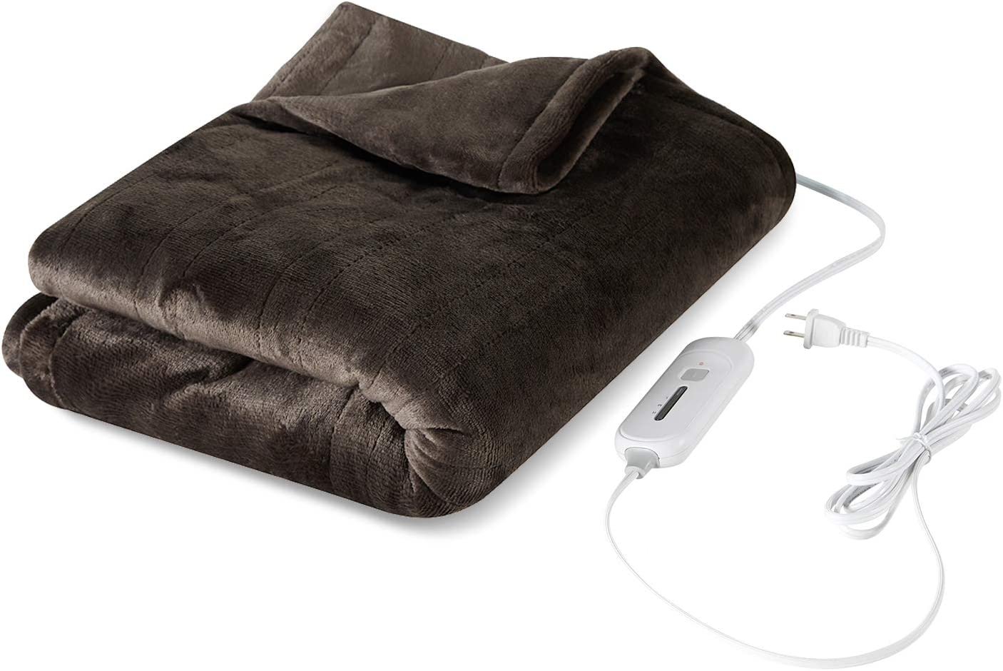 "Tefici Electric Heated Blanket Throw with 3 Heating Levels & 4 Hours Auto Off,Super Cozy Soft Heated Throw with Fast Heating and Machine Washable,Home Office Use,50"" x 60"" Dark Brown"