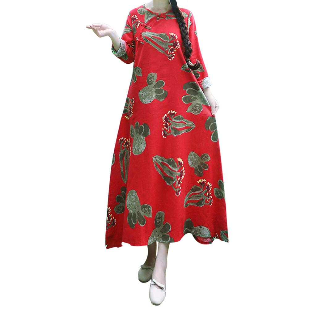 iHPH7 Women Plus Size Printing Long Sleeves Cotton and Linen Loose Long Dress