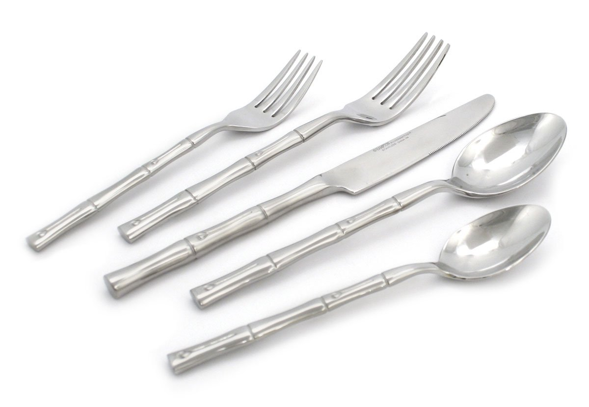 Hampton Forge - Bamboo - 20 Piece Flatware Set - Service for 4 Silverware set (Contains Dinner Fork, Salad Fork, Dinner Knife, Soup Spoon, and Tea Spoon) - Stainless Steel - Mirror, Silver - SILVERWARE SET INCLUDES: 4 Dinner Forks, 4 Salad Forks, 4 Dinner Knives, 4 Soup Spoons and 4 Tea Spoons. STAINLESS STEEL - Utensils made of high quality stainless steel resists corrosion, rusting and pitting. EASY CARE - Mirror finish lasts without the need for polishing. Add gourmet style and luxury to any dinnerware set. - kitchen-tabletop, kitchen-dining-room, flatware - 61hACPcARTL -