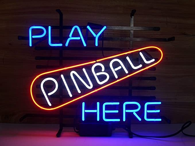 0132c585899a New Play Pinball Here Game Room Arcade Real Glass Neon Light Sign ...