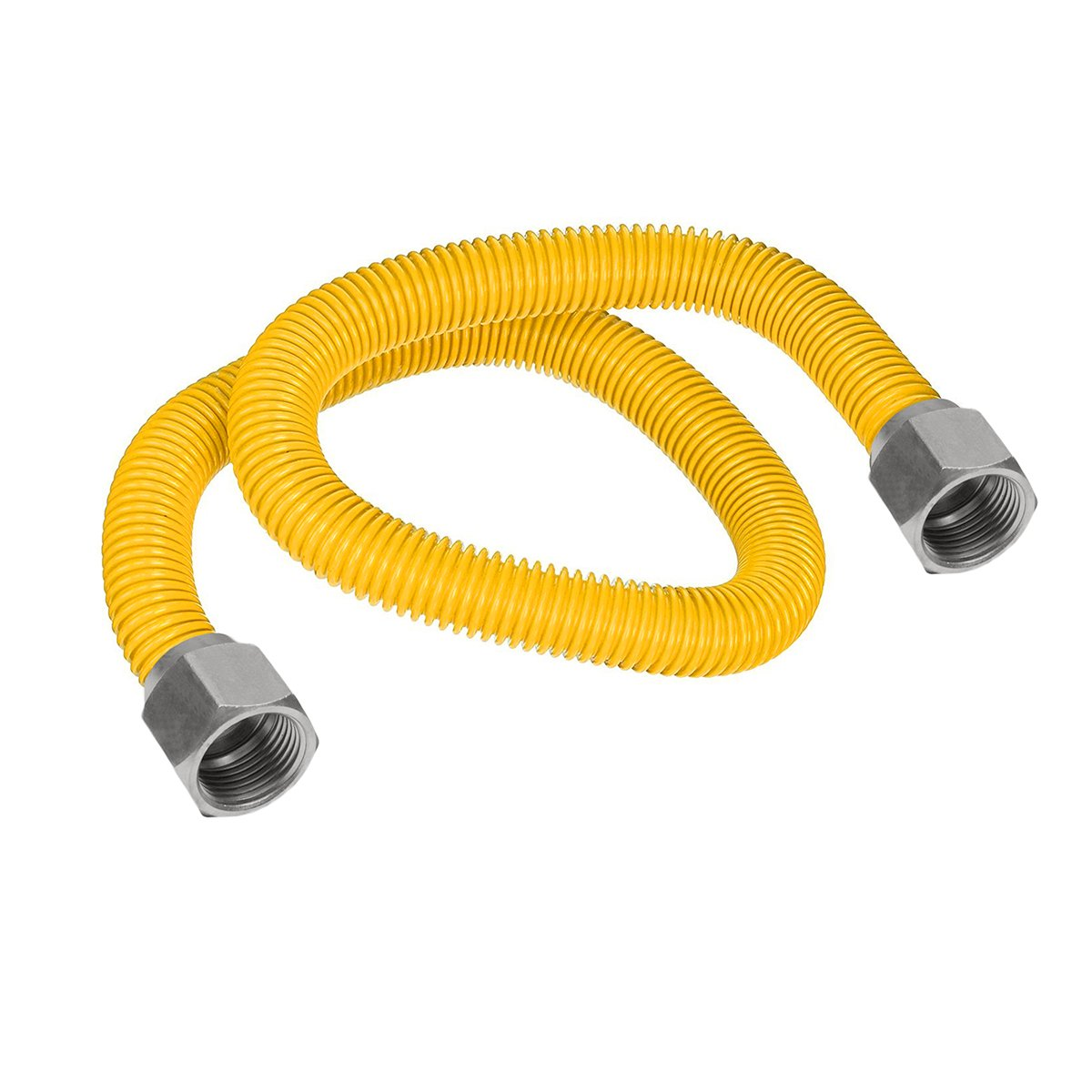 Flextron FTGC-YC14-48 46'' Flexible Epoxy Coated Gas Line Connector with 3/8'' Outer Diameter and Nut Fittings, Yellow/Stainless Steel