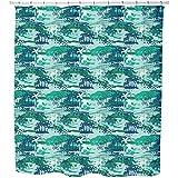 Paradise Island Green Shower Curtain: Large Waterproof Luxurious Bathroom Design Woven Fabric