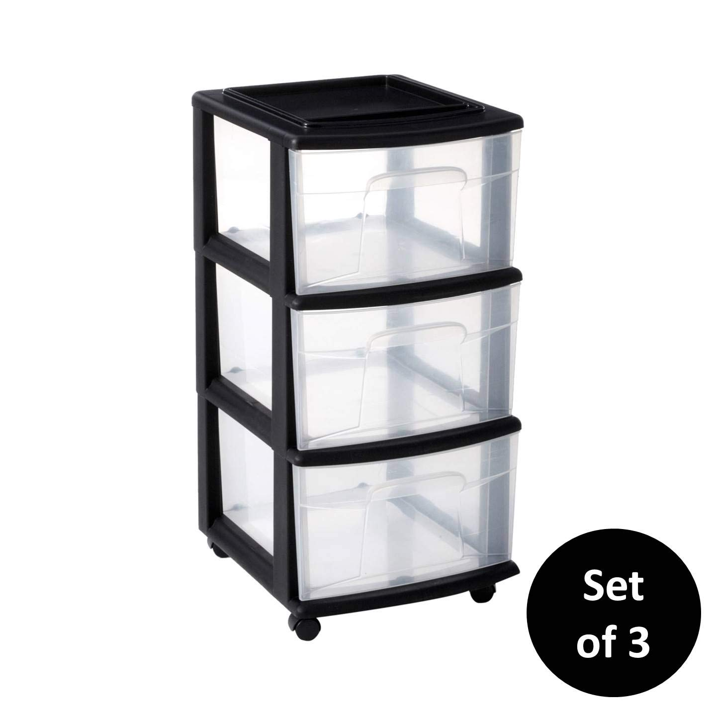 Homz Plastic 3 Drawer Medium Cart, Black Frame, Clear Drawers, Casters Included, Set of 3