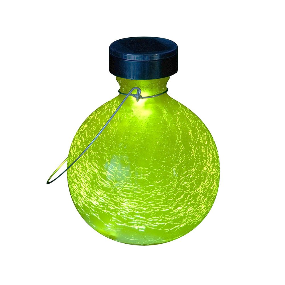 Achla Designs SL-SV03Y 0000 Solar Powered Round Glass Hanging Lantern-Decorative Outdoor Light, Yellow