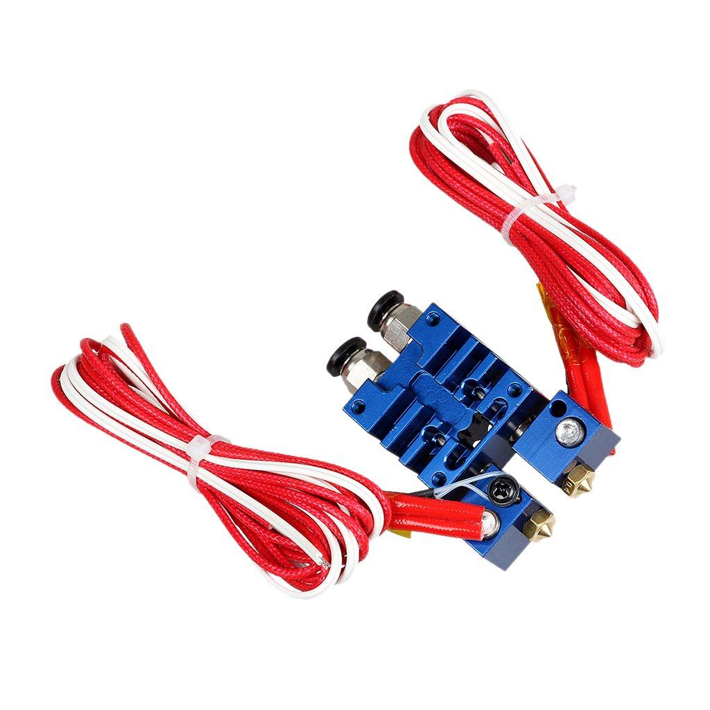 2 Ausg/änge Dual-Kopf-Hotend 0.4mm // 1.75mm F/ür 3D-Drucker 12V Blau Chim/äre Extruder V6 2 Eing/änge
