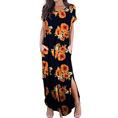 9ec993825bb Amazon.com  HTHJSCO Women Casual Short Sleeve V Neck Printed Asymmetric  Maxi Dress with Belt Casual Long Dresses  Clothing