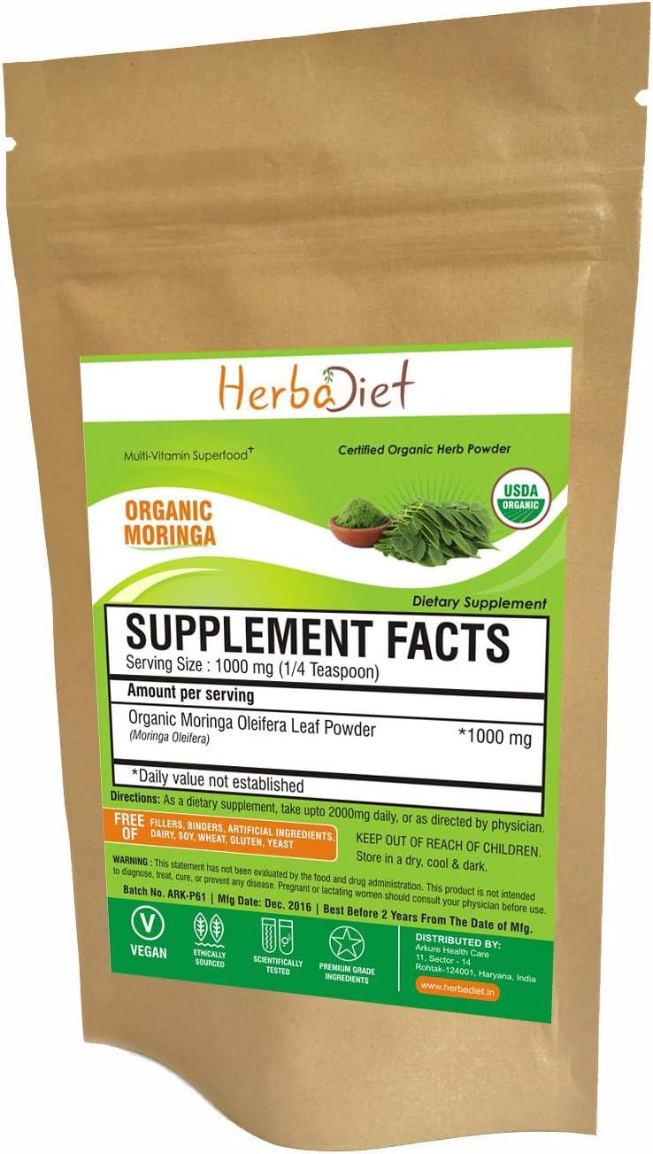 Organic Moringa Oleifera Leaf Powder - USDA Certified - Perfect for Smoothies, Juices, Tea - Multi-Vitamin - Natural Energy Boost - 100% Natural Raw Green Superfood - Non GMO Gluten Free (5 Gram)