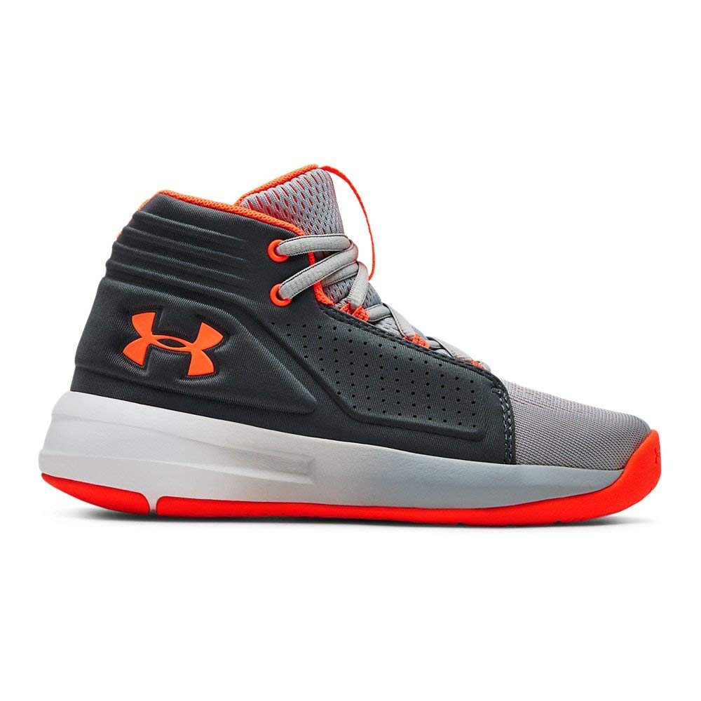 Under Armour Boys' Pre School Torch Mid Basketball Shoe, Mod (101)/Pitch Gray, 2.5 M US Little Kid