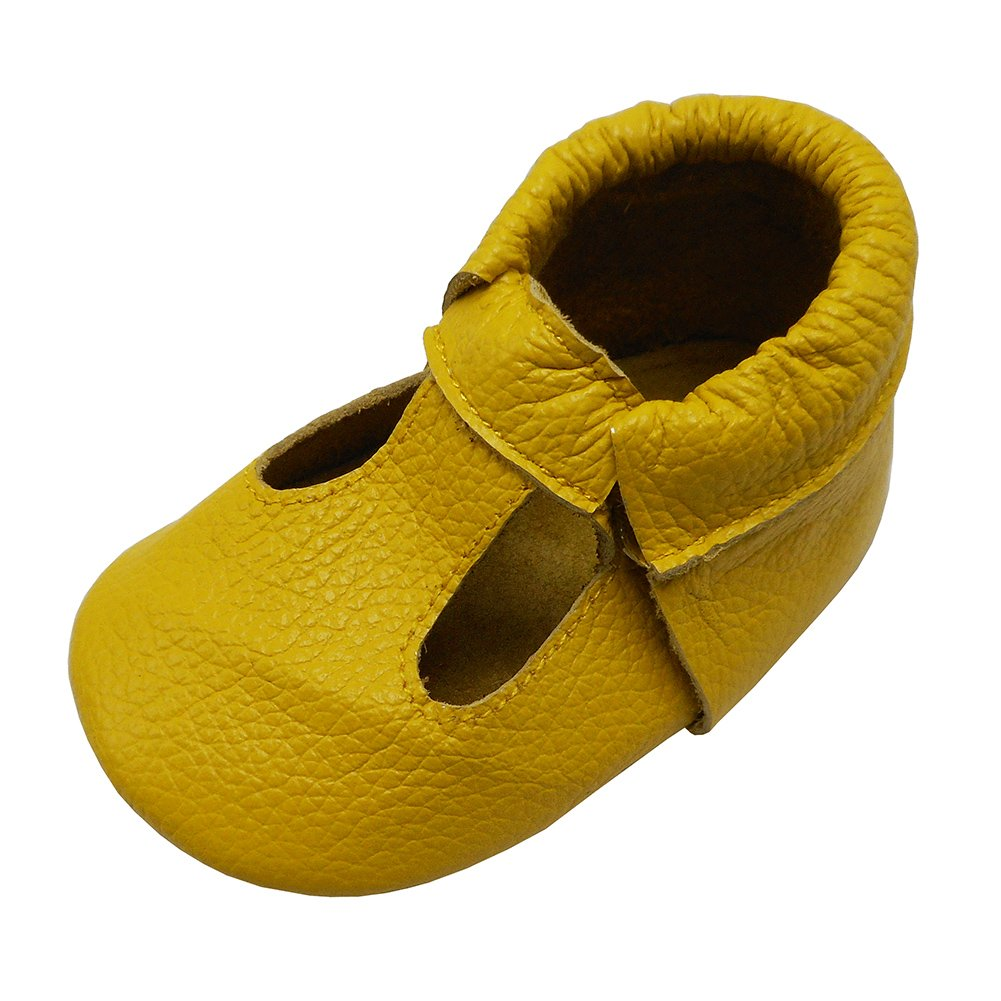 Mejale Baby Summer Shoes Soft Soled Leather Moccasins Infant Walker Sandals Yellow(12-18 Mo./5.5 in)