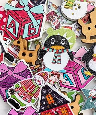 Knöpfe Weihnachtsmotive.Amazon De Perlen N Bits Weihnachten Verzierung Knopf Mix Von