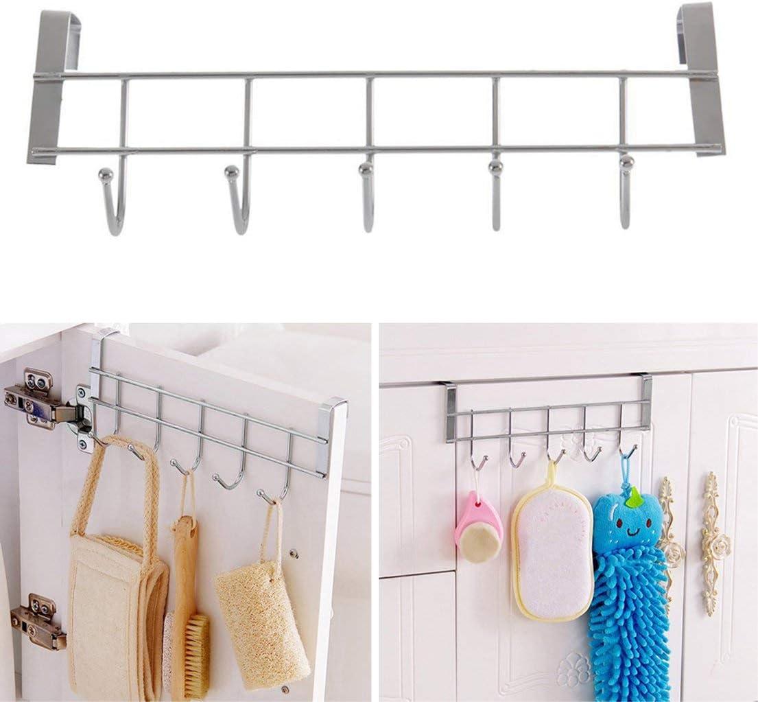 SKYYKS Eco-Friendly Silver Metal Over Door Home Bathroom Kitchen Coat Towel Hanger Rack Holder Shelf 5 Hooks Hooks /& Rails
