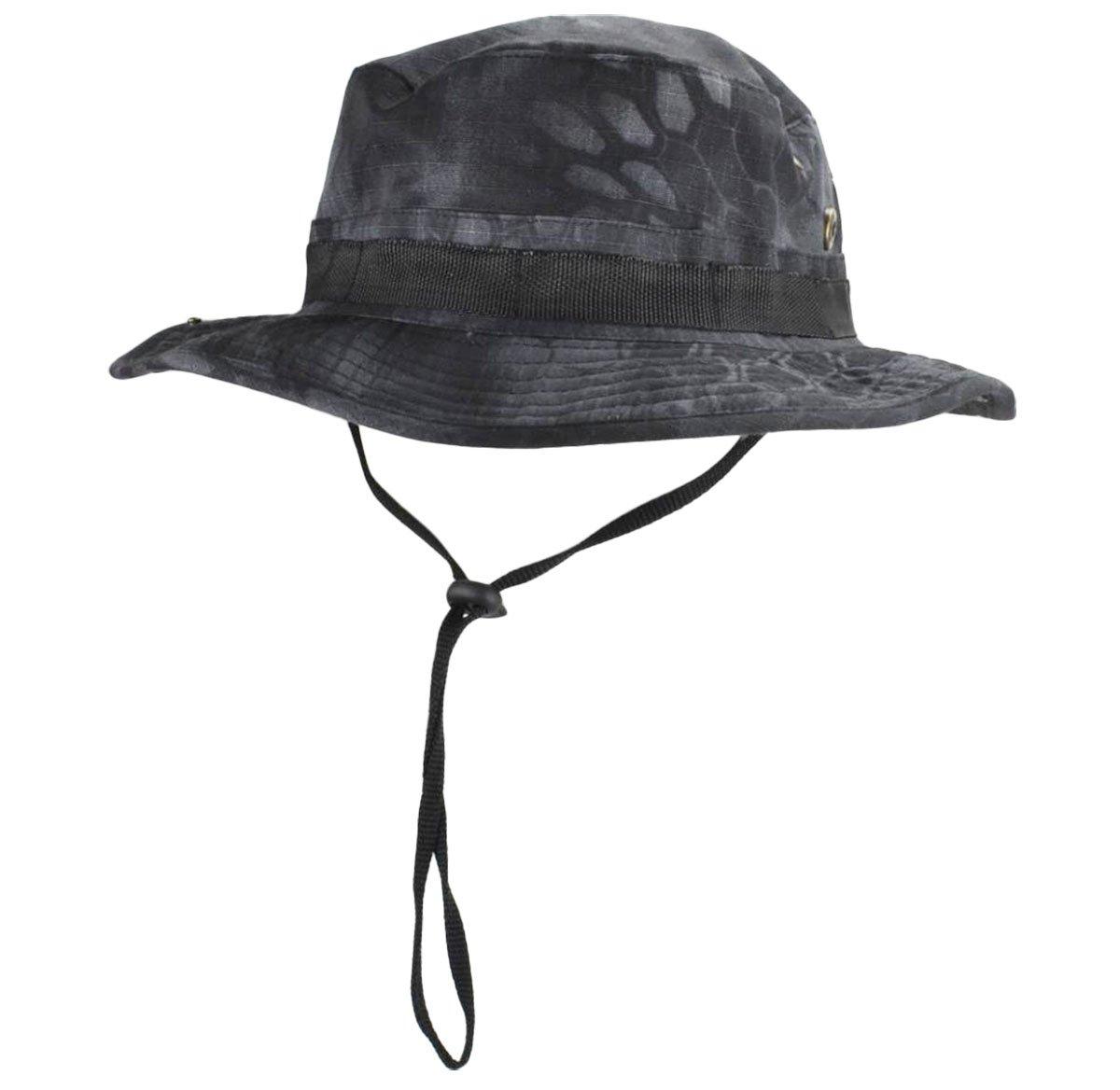 7d19e842cb16b jffcestore Men s Military Camo Boonie Hat Fishing Sun Hat Snap Wide Brim  Bucket Hat with Adjustable Strap(Black ty)