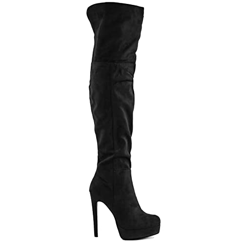 Toocool - Stivali donna alti scamosciati risvolto tacchi plateau scarpe  nuovi SQ1616  36 ff15f5f8d01f