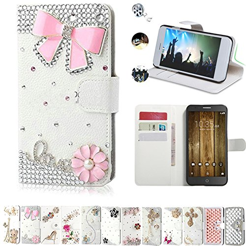 best cheap 7b5b2 dd604 Alcatel Fierce 4 Wallet Case, Alcatel Pop 4 Plus Case, AMASELL Glitter  Bling Diamonds [Stand View] PU Leather Flip & Card Slots Holder Folio  Wallet ...