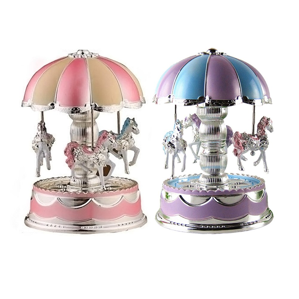 Carousel Music Box Merry-Go-Round Toy LED Light kids Christmas Birthday Gift Childplaymate