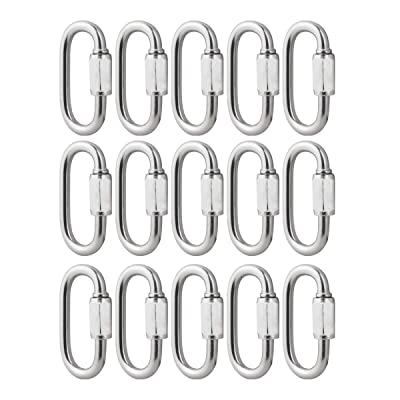 BNYZWOT 304 Stainless Steel Quick Links D Shape Locking Quick Chain Repair Links M3.5 1/8 inch Pack of 15: Industrial & Scientific