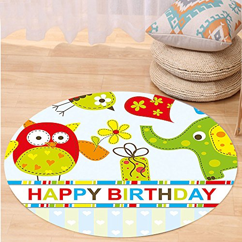 VROSELV Custom carpetBirthday Decorations for Kids Patchwork Design Owls Birds Hearts and Boxes Party Theme Art for Bedroom Living Room Dorm Multicolor Round 34 inches - Heated Box Extractor