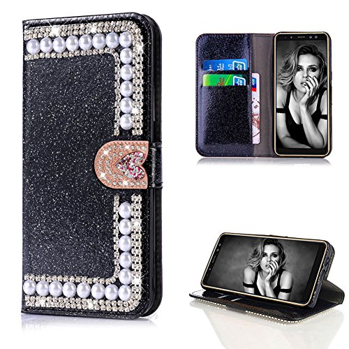 Diamond Case for Samsung Galaxy A8 Plus 2018,Cistor Luxury Black Glitter 3D Pearl Wallet Case Samsung Galaxy A8 Plus 2018,Shockproof PU Leather Case with Love Heart Magnetic Closure Card Slot Cover by Cistor