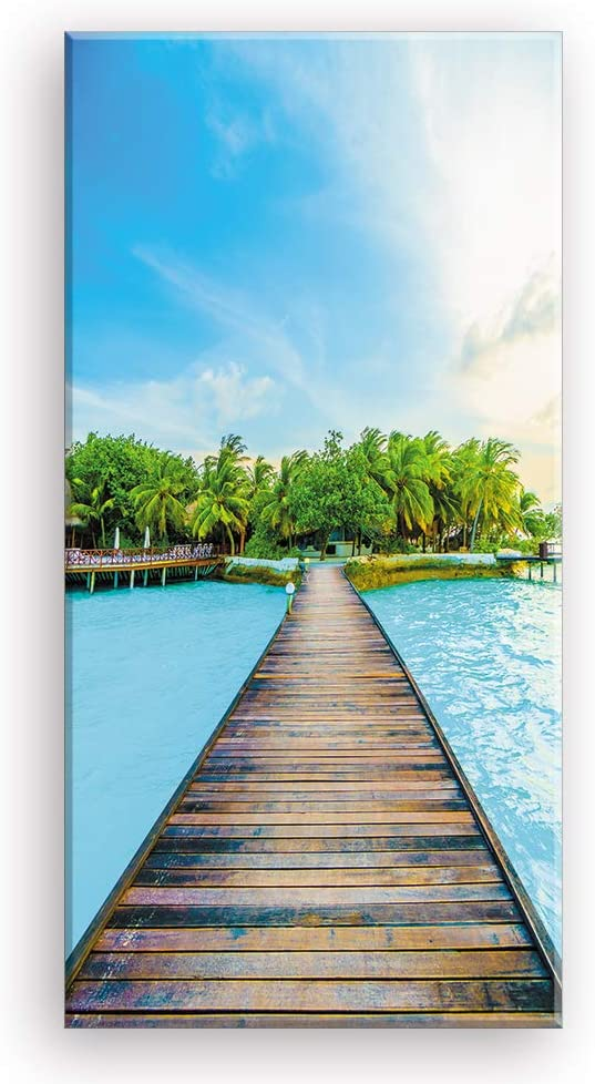 Beach Canvas Wall Art for Corridor, PIY Vertical Wharf Bridge to Tropical Island Picture with Blue Sky, Modern Relax Prints Artwork Aisle Decor (Waterproof, Bracket Mounted Ready to Hang)