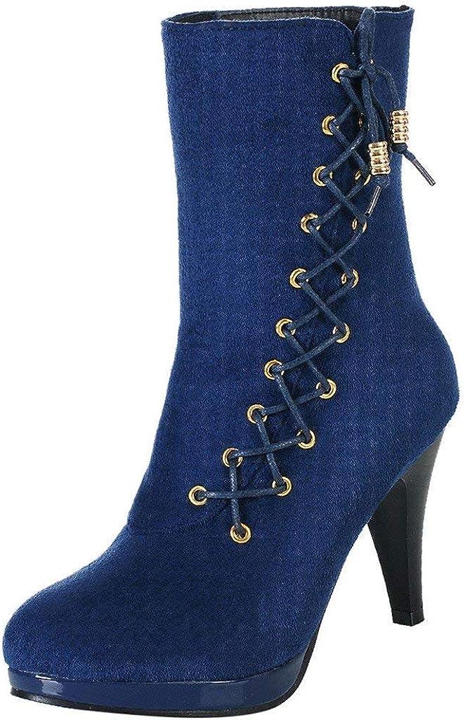 Zapatos con Flecos Botas Al Tobillo Botas de Mujer EN Negro Botas con Tacón de Imitación de Cuero con Tacón Cómodo DE 10cm Estilo Vaquero Mujer Tacon Ancho Botas Botines para Mujer POLP
