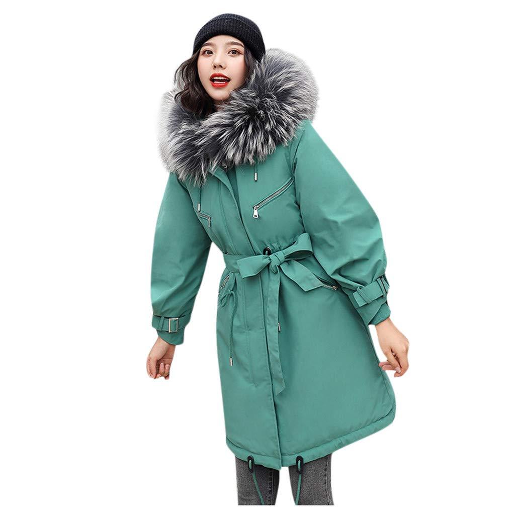 Fashionhe Women Overcoat Warm Outerwear Faux Hooded Slim Jacket Long Solid Color Outwear Pocket Coats(Green.M) by Fashionhe