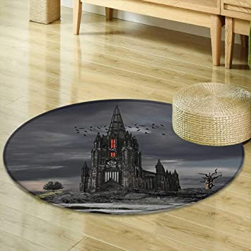 Round Area Rug Carpet Collection Mystery Gothic Castle Edinburgh Darkness Dramatic Sky Clouds Bat and Old